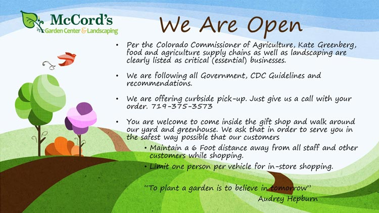 McCord's Garden Center: We Are Open: Considered Essential by the Colorado Department of Agriculture